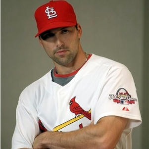 Mark Derosa tries to look really serious in a photo taken shortly after his trade to St. Louis.
